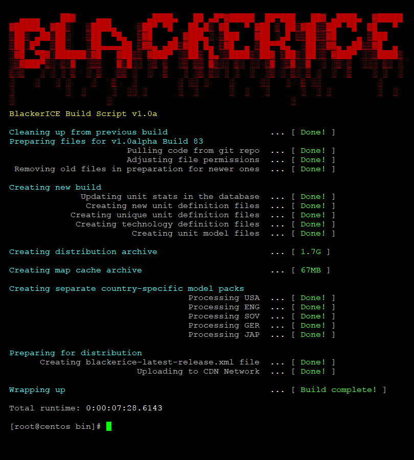 Screenshot of the BlackerICE build script's output