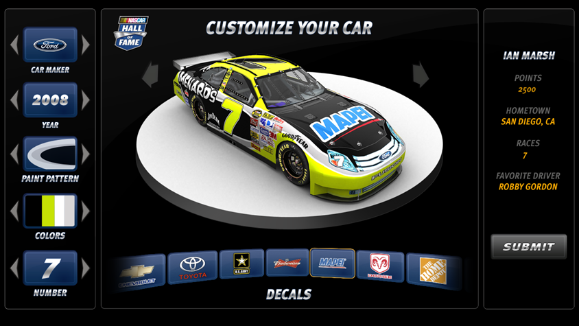 NASCAR HOF Interactive Kiosk - Final Design